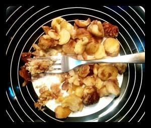 5. Poner las castañas en el plato - mettere le castagne in un piatto